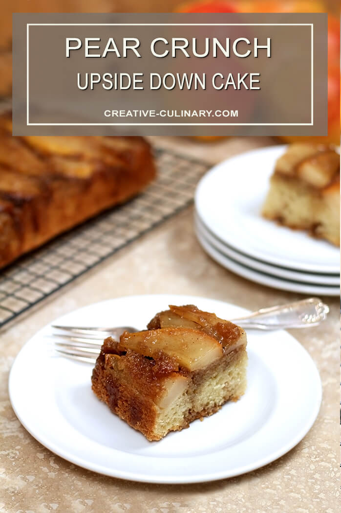 Piece of Upside Down Pear Crunch Coffee Cake on a White Plate