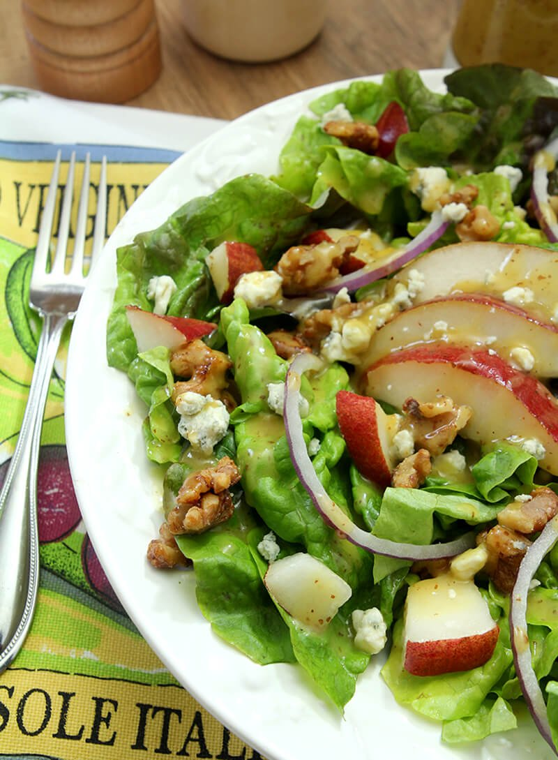 White Plate with Salad with Greens, Pear, Walnuts, and Gorgonzola Cheese
