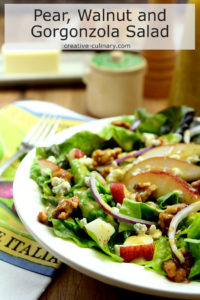 Plate with Salad of Greens, Pear, Walnuts, and Gorgonzola Cheese