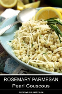 Rosemary Parmesan Couscous Garnished with Rosemary, Parmesan, and Lemon