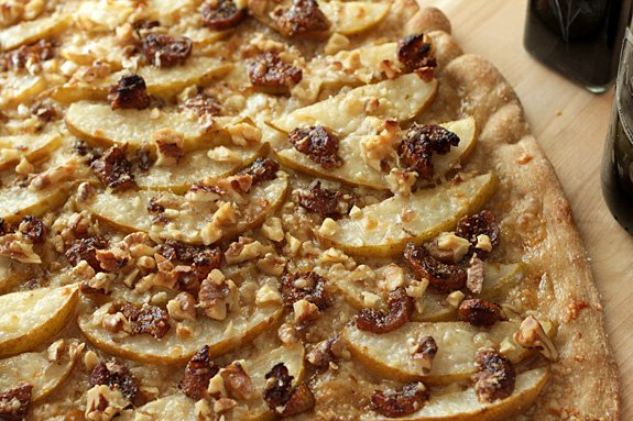 White Pizza with Walnuts, Pears and Balsamic Glazed Figs
