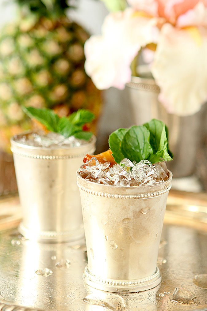 Roasted Pineapple and Rum Mint Juleps