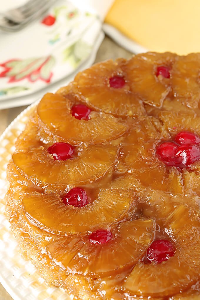 The Best Pineapple Upside Down Cake with Rum and Cherries