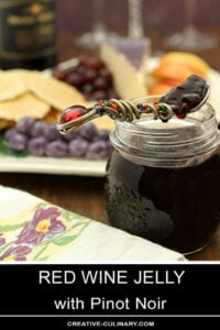 Red Wine Jelly in a Small Jam Jar