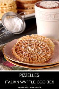 Pizzelles - Italian Waffle Cookies Sprinkled with Powdered Sugar