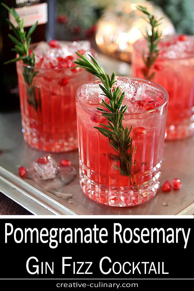 Pomegranate Rosemary Gin Fizz Cocktail PIN