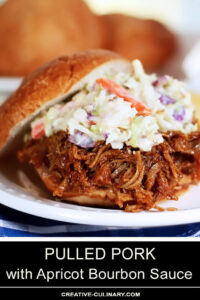 Pulled Pork Sandwich with Apricot Barbecue Sauce and Coleslaw