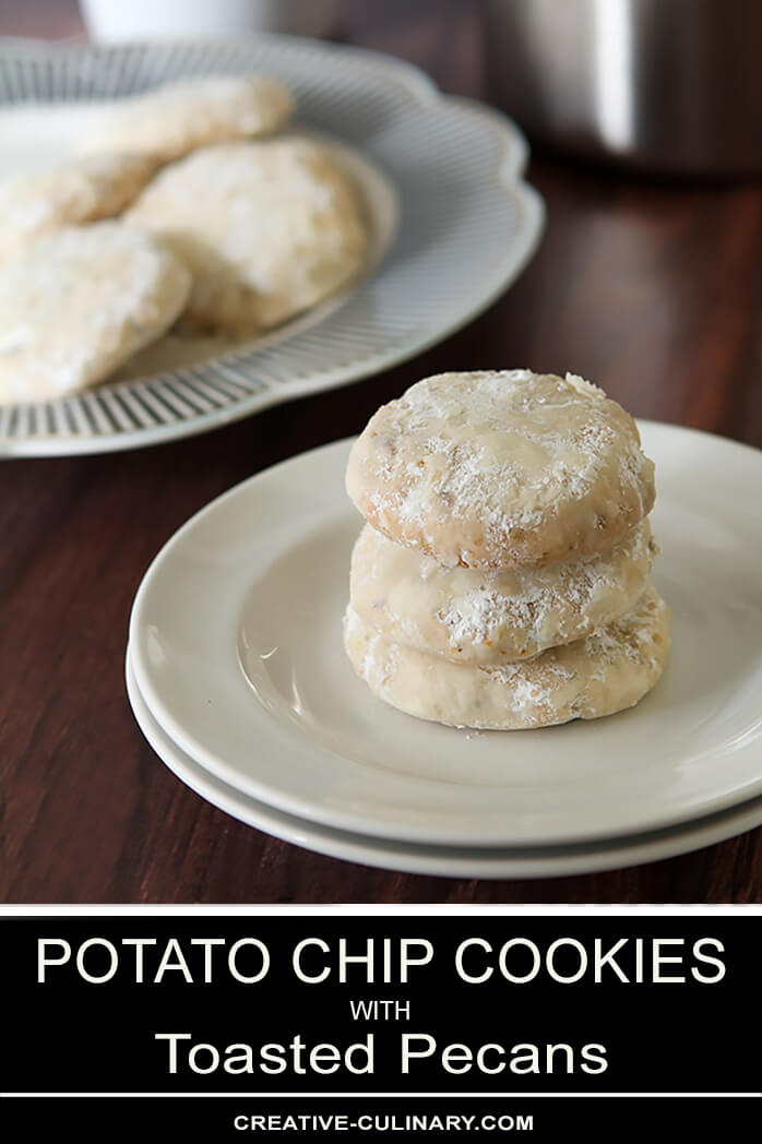 Potato Chip Cookies Stacked on a White Plate