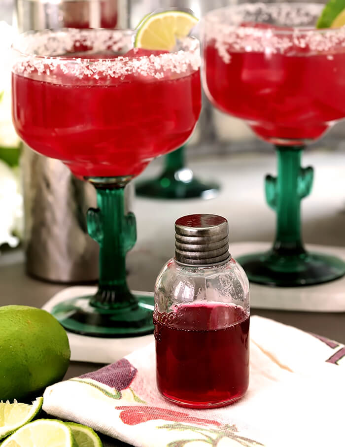 Prickly Pear Margaritas and a Bottle of Prickly Pear Syrup