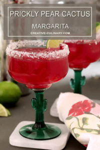 Prickly Pear Margaritas Garnished with Lime Wedge