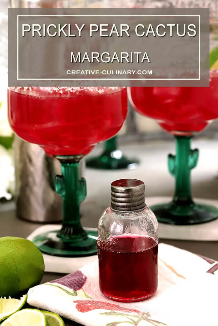 Prickly Pear Margaritas with a Bottle of Prickly Pear Syrup