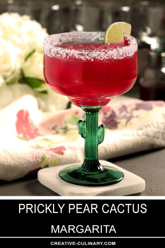 Prickly Pear Cactus Margarita in a Margarita Glass with a Cactus Stem