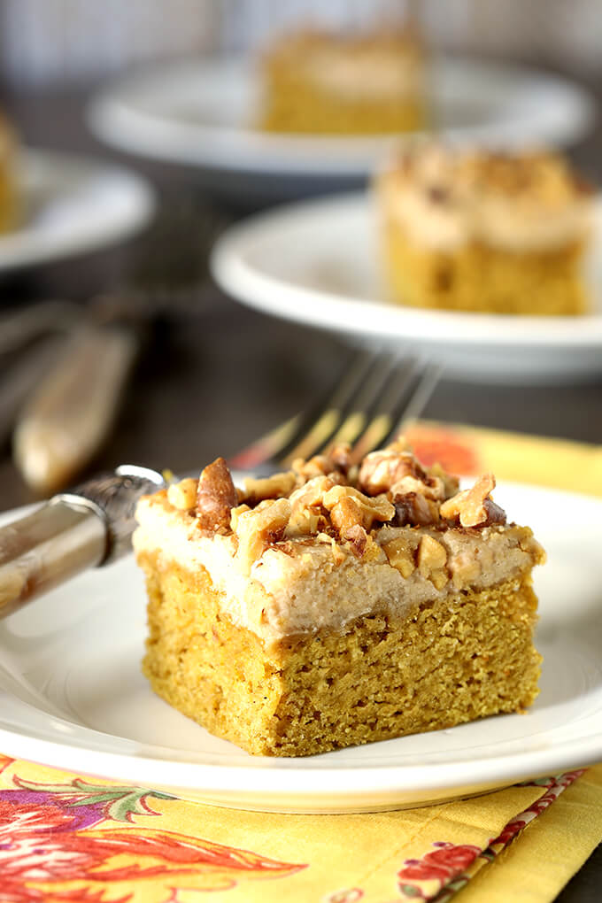 Pumpkin Bars with Maple Frosting and Toasted Walnuts