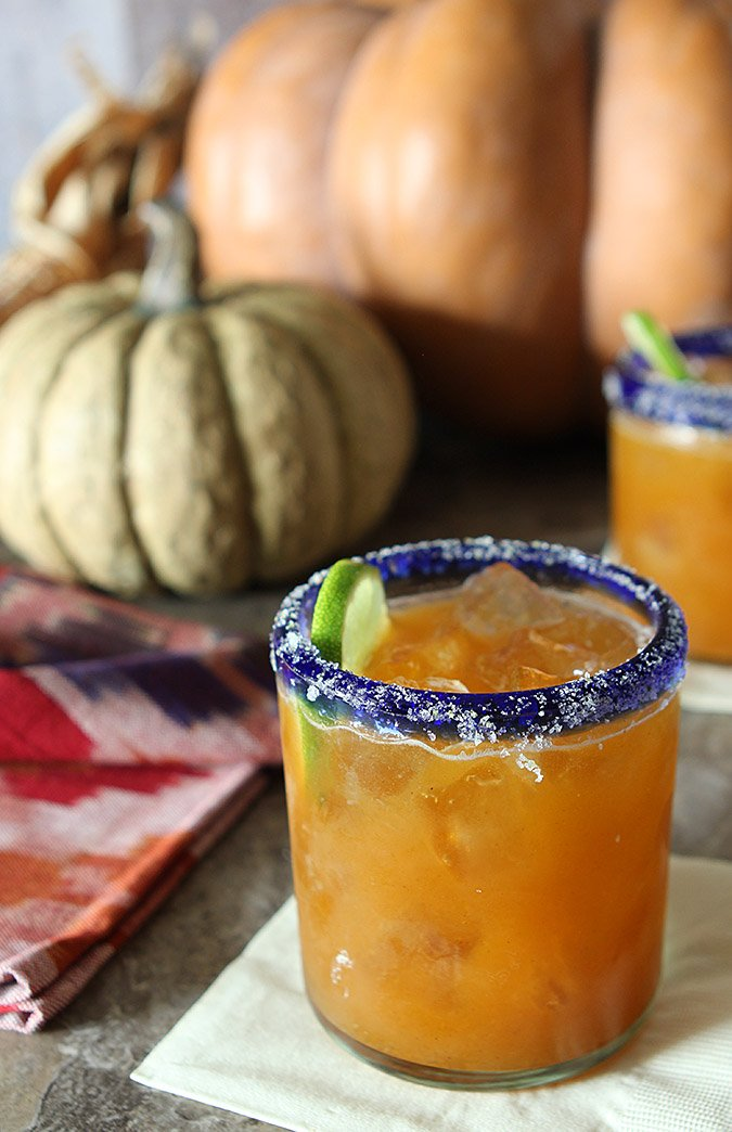 Pumpkin and Cinnamon Spiced Margarita Cocktail