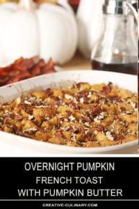 Overnight Pumpkin French Toast in a White Rectangular Corning Ware Serving Dish