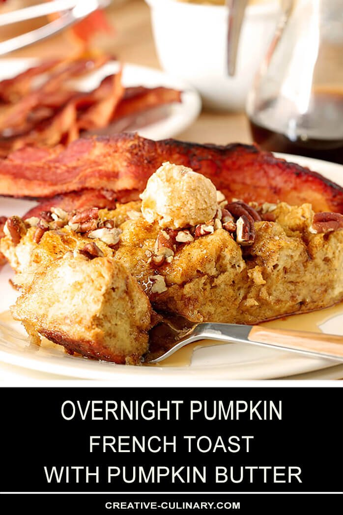 Serving of Overnight Pumpkin French Toast Topped with Pumpkin Butter and Warm Syrup