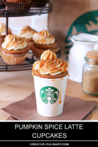 Coffee Flavor Cupcakes with Warm Fall Spices Topped with a Buttercream Frosting and Caramel in a Starbucks Coffee Cup
