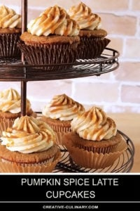 Coffee Flavor Cupcakes with Warm Fall Spices Topped with a Buttercream Frosting and Caramel