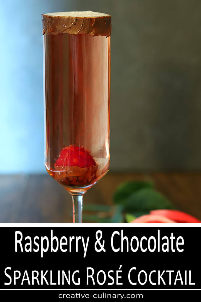 Raspberry and Chocolate Sparkling Rosé Cocktail PIN