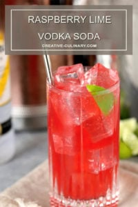 Raspberry Lime Vodka in Tall Glass with Lime Wedge