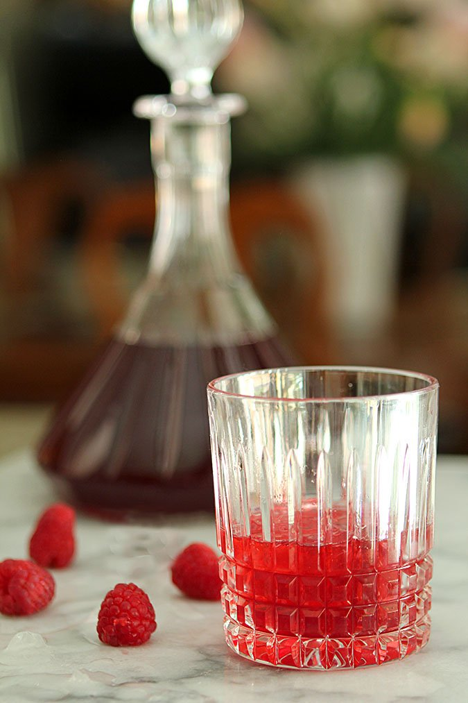 Homemade Raspberry Liqueur in a Crystal Glass