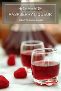 Homemade Raspberry Liqueur Served in Short Liqueur Glasses