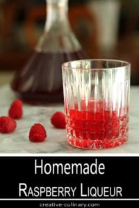 Homemade Raspberry Liqueur Served Served in a Crystal Highball Glass