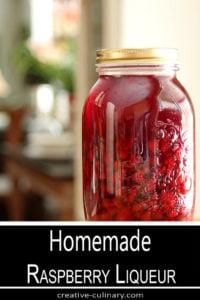 Homemade Raspberry Liqueur in a Large Mason Jar