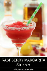Raspberry Margarita Slushie Served in Margarita Glass with Salt and Sugar Rim