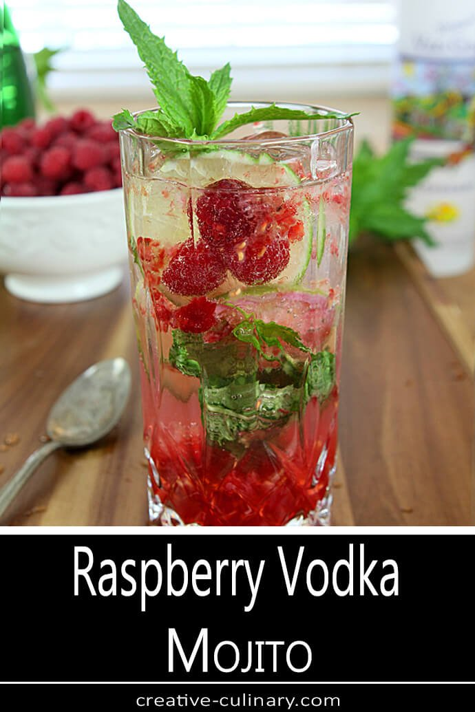 Raspberry Vodka Mojito Cocktail with Mint Garnish in Collins Glass