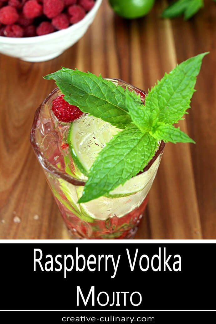 Raspberry Vodka Mojito Cocktail Overhead Photo with Mint Garnish