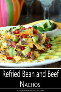 White Serving Plate with Refried Bean and Beef Nachos