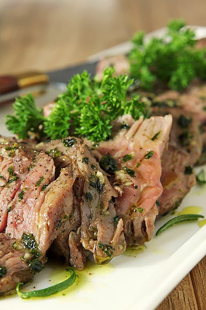 Cut Rib-eye Steak with Olive Oil, Garlic and Herbs (Tagliata)