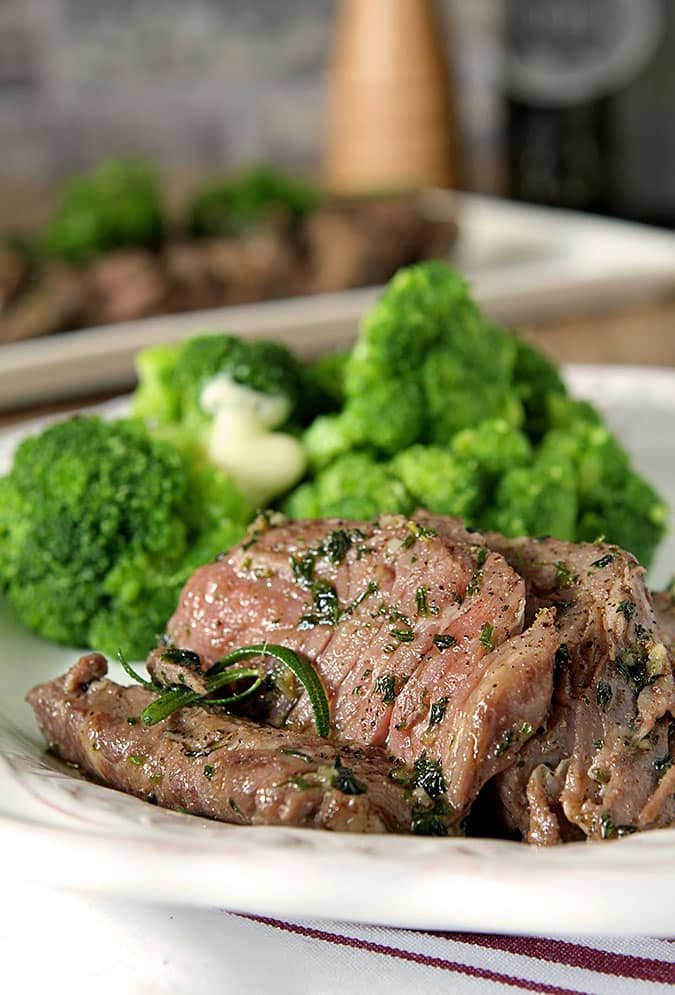 Rib-eye Steak with Olive Oil, Garlic and Herbs Served with Broccoli