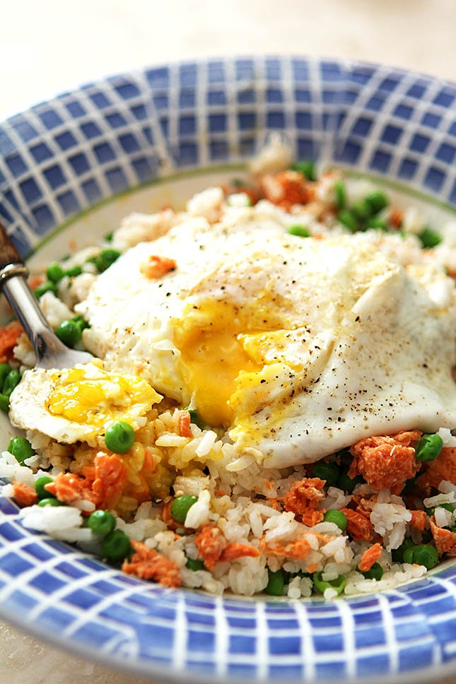 Rice and Egg Bowl with Salmon and Peas from Creative-Culinary.com