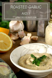 Roasted Garlic Aioli Ingredients Including Garlic and Lemon