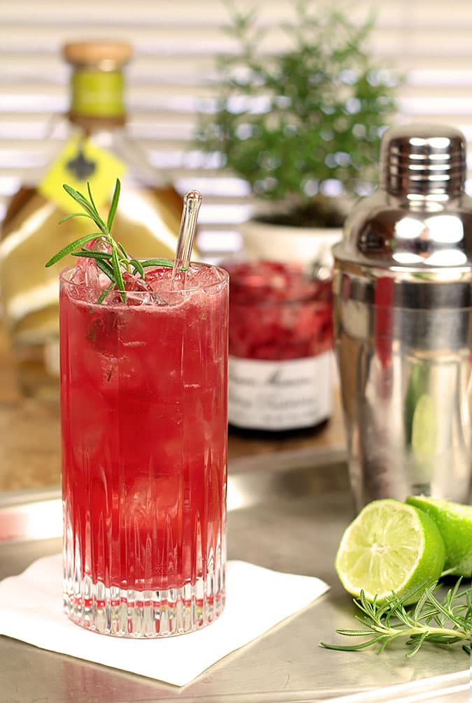 Rosemary Cherry Crush with Tequila and Cherry Preserves