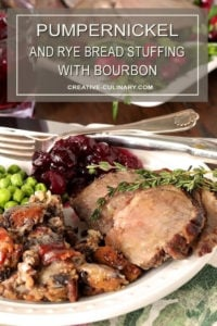 Pumpernickel and Rye Dressing with Pecans and Bourbon Served on a White Plate with Peas, Cranberry Sauce, and Lamb Garnished with Thyme