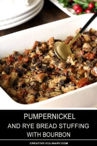 Pumpernickel and Rye Dressing with Pecans and Bourbon in a Rectangular White Serving Dish