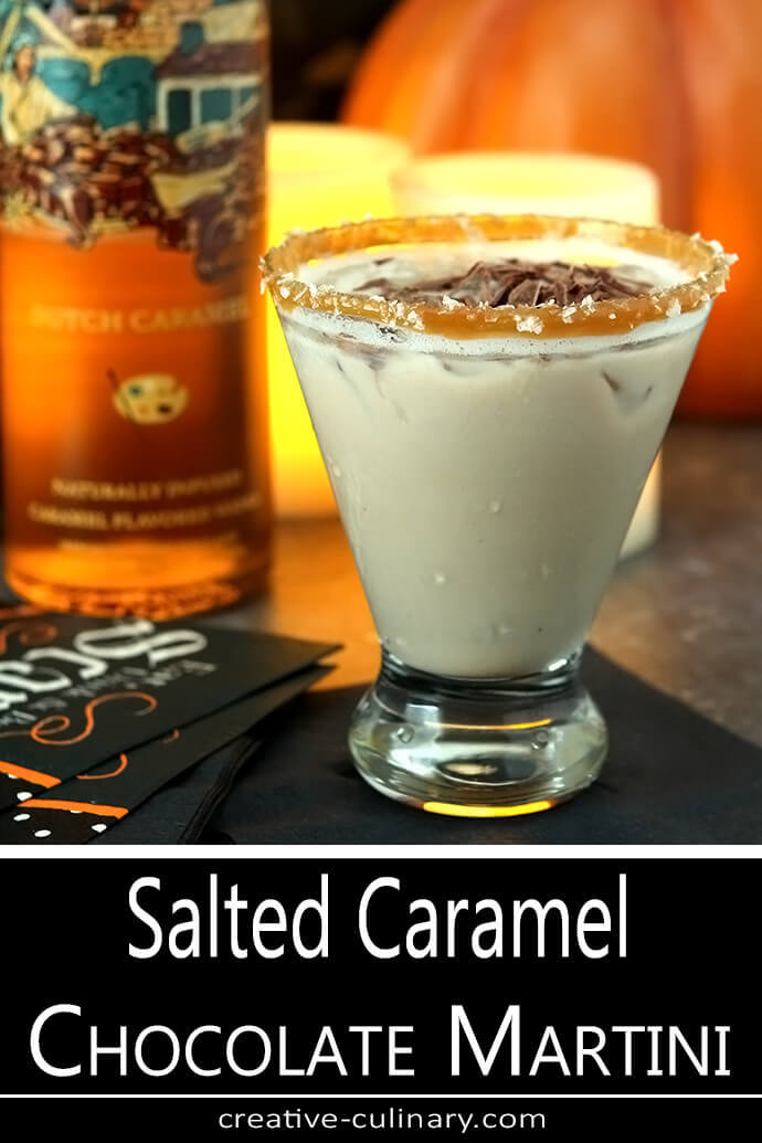 Salted Caramel Chocolate Martini with a Bottle of Salted Caramel Vodka