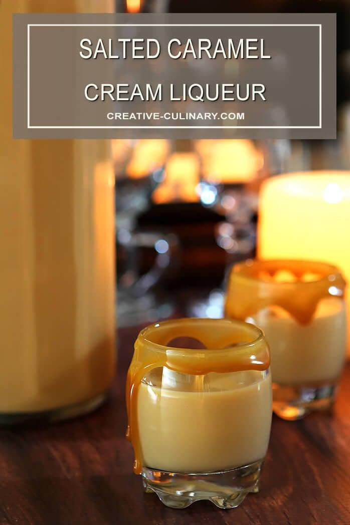Salted Caramel Cream Liqueur in Liqueur Glasses with a Caramel Rim