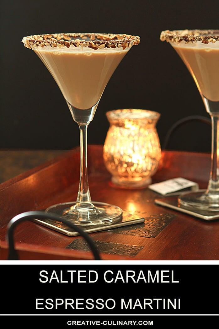 Salted Caramel Espresso Martini Cocktail with a Chocolate and Pretzel Rim