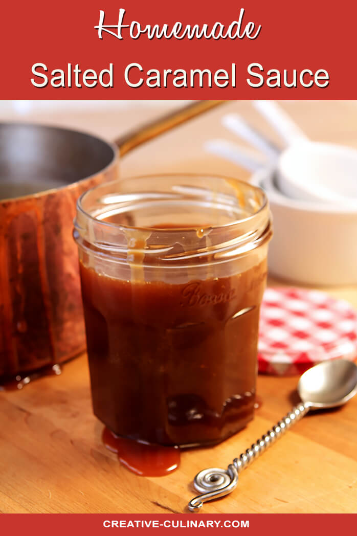 Homemade Salted Caramel Sauce in Jar