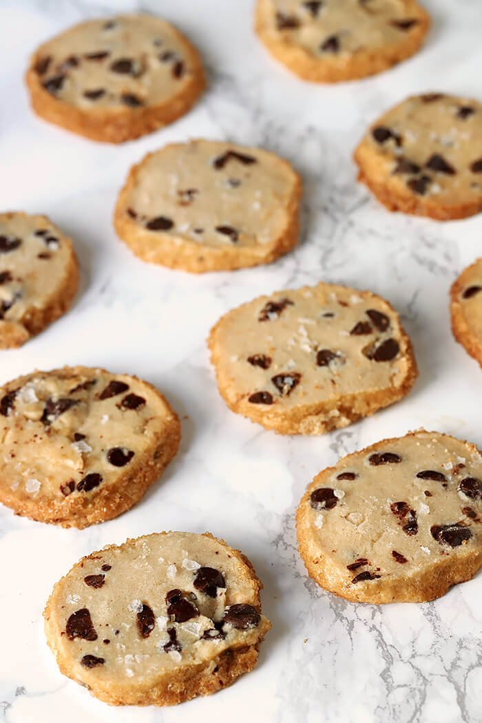 Salted Chocolate Chip Shortbread Cookies on a Marble Top Table
