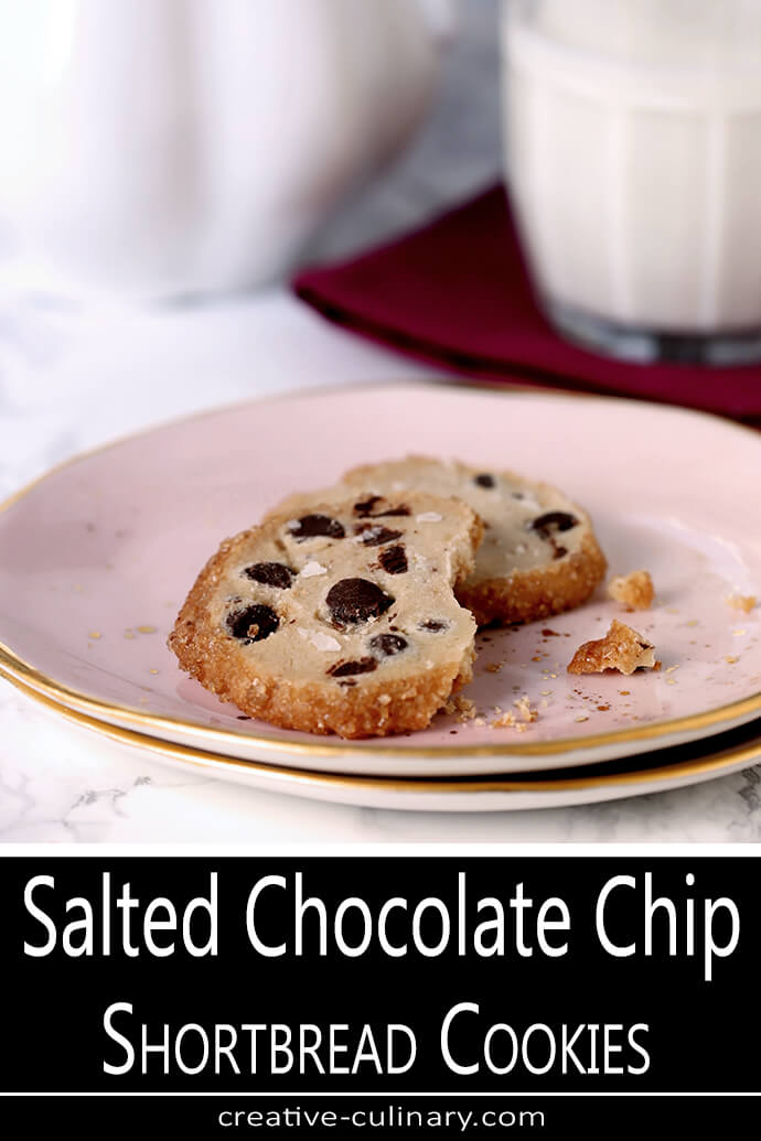 Salted Chocolate Chip Shortbread Cookies on Pink and Gold Pottery Plate PIN