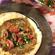 Ground Beef Sfeeha on Pita