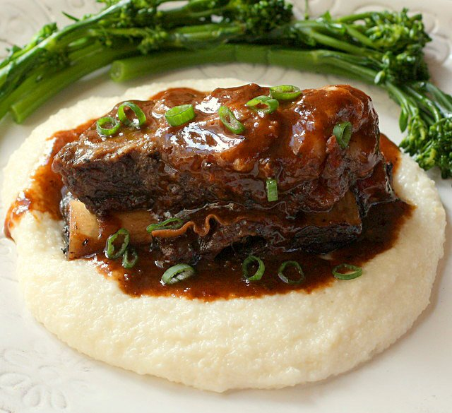 Braised Beef Short Ribs with Cheesy Horseradish Grits
