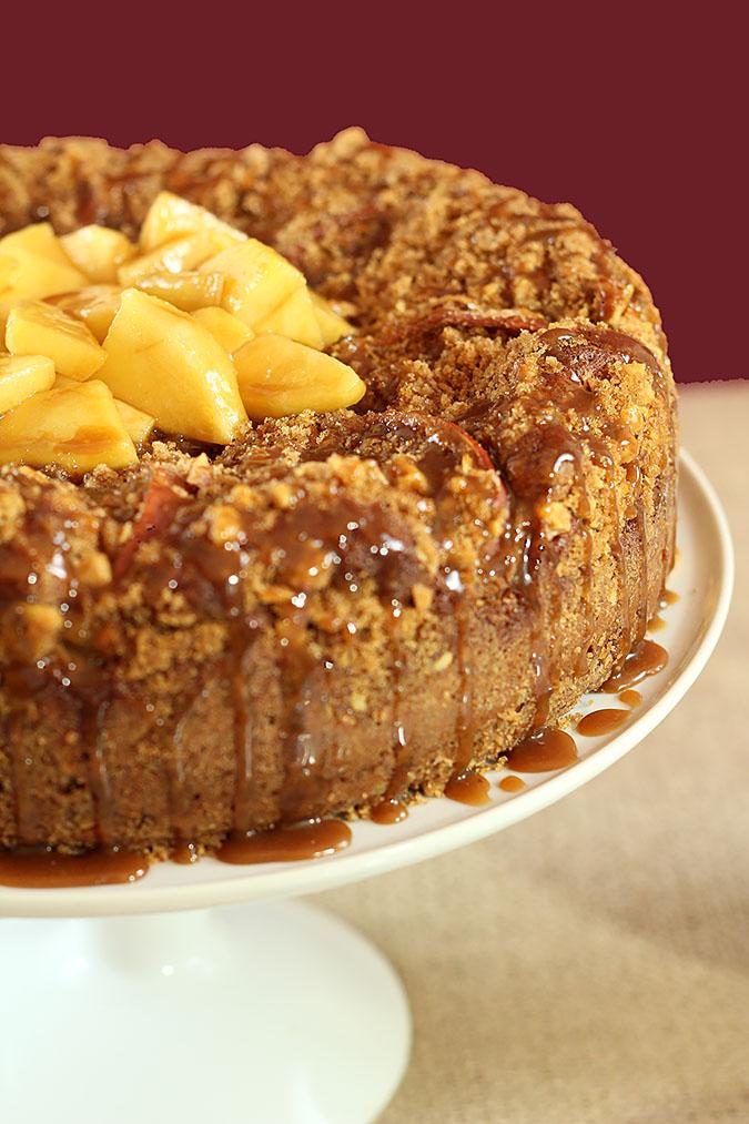 Caramel Apple Cake with Walnut Streusel