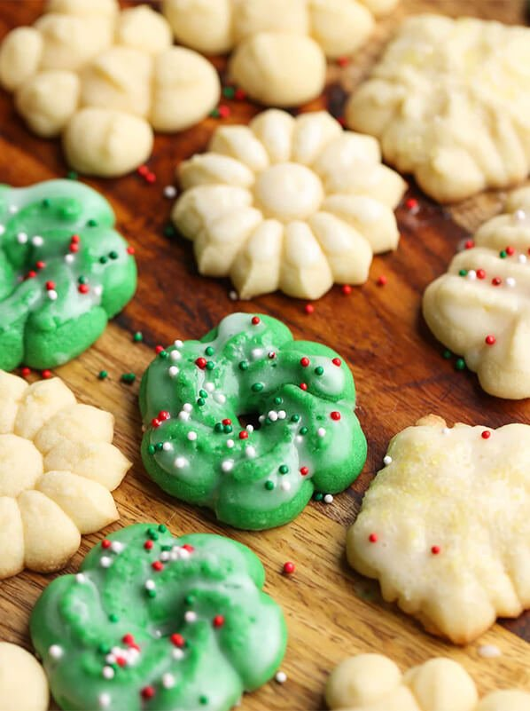 Old Fashioned Spritz Butter Cookies in Different Colors