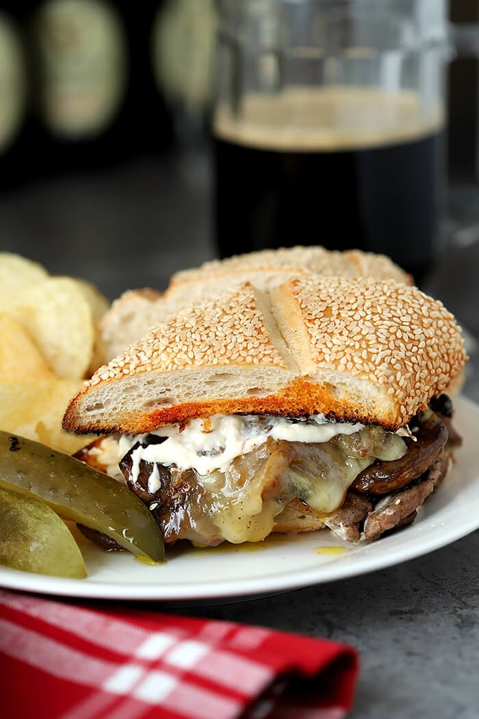 Steak and Cheese Sandwich with Caramelized Onions and Mushrooms with Horseradish Mayonnaise